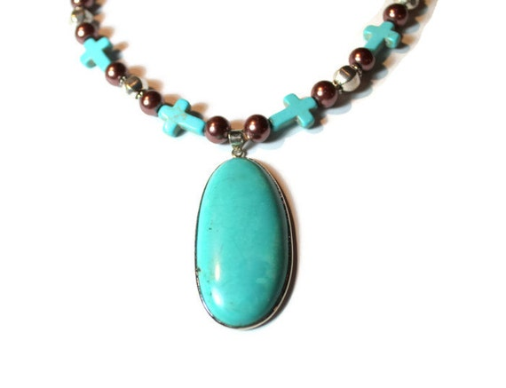 Turquoise, Copper and Silver Beaded Necklace with Large Turquoise Pendant, Statement Necklace, Southwestern Style, Gift For Her, Valentine
