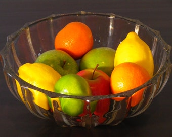 Beautiful heavy hand blown 1930s glass fruit bowl cut glass crystal fruit bowl wedding present vintage