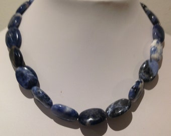 Necklace.36cm. Features 13x18mm Gemstone ovals. Blue. Multi shades and patterns