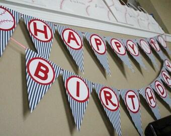Baseball Birthday Banner - Pinstripes Baseball Birthday Banner