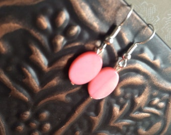 Sweet and Petite Valentine's Day Pink Oval Mother of Pearl Dangle Earrings - FREE US SHIPPING