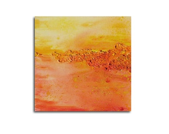 Abstract painting, canvas, summer, yellow, orange, 30 x 30 x 3,5 cm, original painting,mixed media,