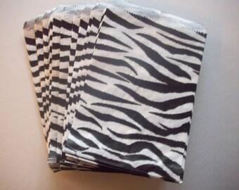 "100 - 5""x7"" Zebra Print Merchandise Flat Bags"