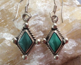 Malachite and Sterling Silver Earrings from Mexico