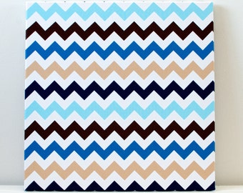 Blue and Beige Chevron Wall Art
