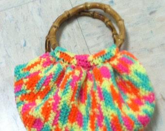 Crochet Bamboo handle purse