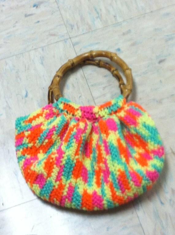 Crochet Bag Bamboo Handles Pattern : Crochet Bamboo handle purse