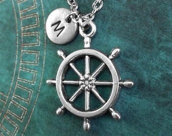 Ship Wheel Necklace, Personalized Necklace, Ship Wheel Pendant, Custom Necklace, Nautical Necklace, Monogram Necklace Helm Charm Necklace