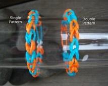 Aqua and Orange Rubber Band Bracelets Party Favor Pack