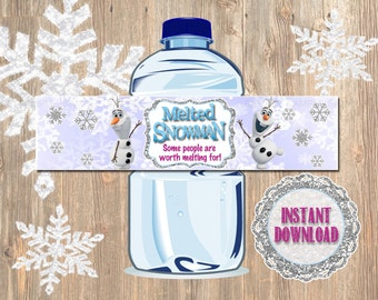Frozen Bottle Labels - Disney Frozen Water Bottle Labels - Melted Snowman some people are worth melting for. Olaf Decor Ideas, Party Favor