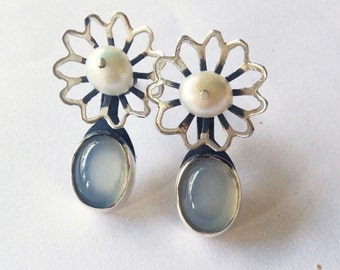 Pearl meadow silver stud with moon stone - carved flower earrings