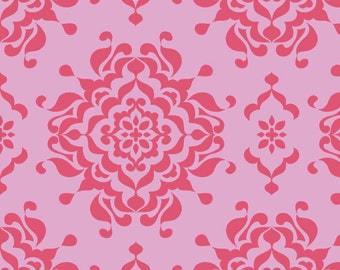 Laminated Cotton Fabric - L3912-PINK Splendor Damask Pink Laminate by Lila Tueller