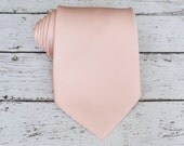 Pastel Apricot Tie. Peach Necktie