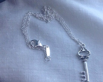 Antiqued Silver Skeleton Key Necklace
