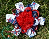 4th of July patriotic  Loopy flower  boutique  hair bow, girls  Hair clip, grosgrain bow,, hair bows, girl hair bows