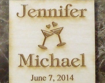 Save The Date Magnet 200 - Custom Rustic Wedding Wood Favors - Square - Laser Wedding Magnet Favor Personalized engraved