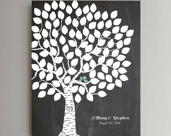 100 Guest Wedding Guest Book Chalkboard Wedding Tree Wedding Guestbook Alternative Guestbook Poster Wedding Guestbook Poster - Chalkboard