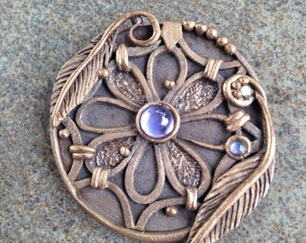 Dreamcatcher Amethyst Mandala Bronze pendant statement necklace