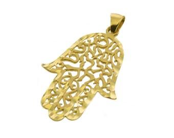 14k Gold Shema Israel Hamsa Pendant