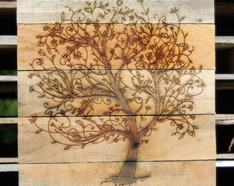 "Reclaimed Pallet Laser Engraved Tree Wall Art! Approximately 11.75"" x 16.5"""