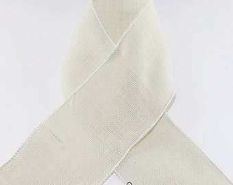 WHITE WIRED BURLAP Ribbon  - Great for Crafts, Wreaths, Projects, etc. Offray Ribbon - Select Length and Width