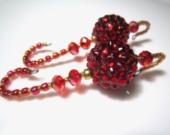 Red Jewel Beaded Christmas Ornament Hangers - 2 Showstopper Serious Bling Gem Encrusted Beaded Ornament Hooks