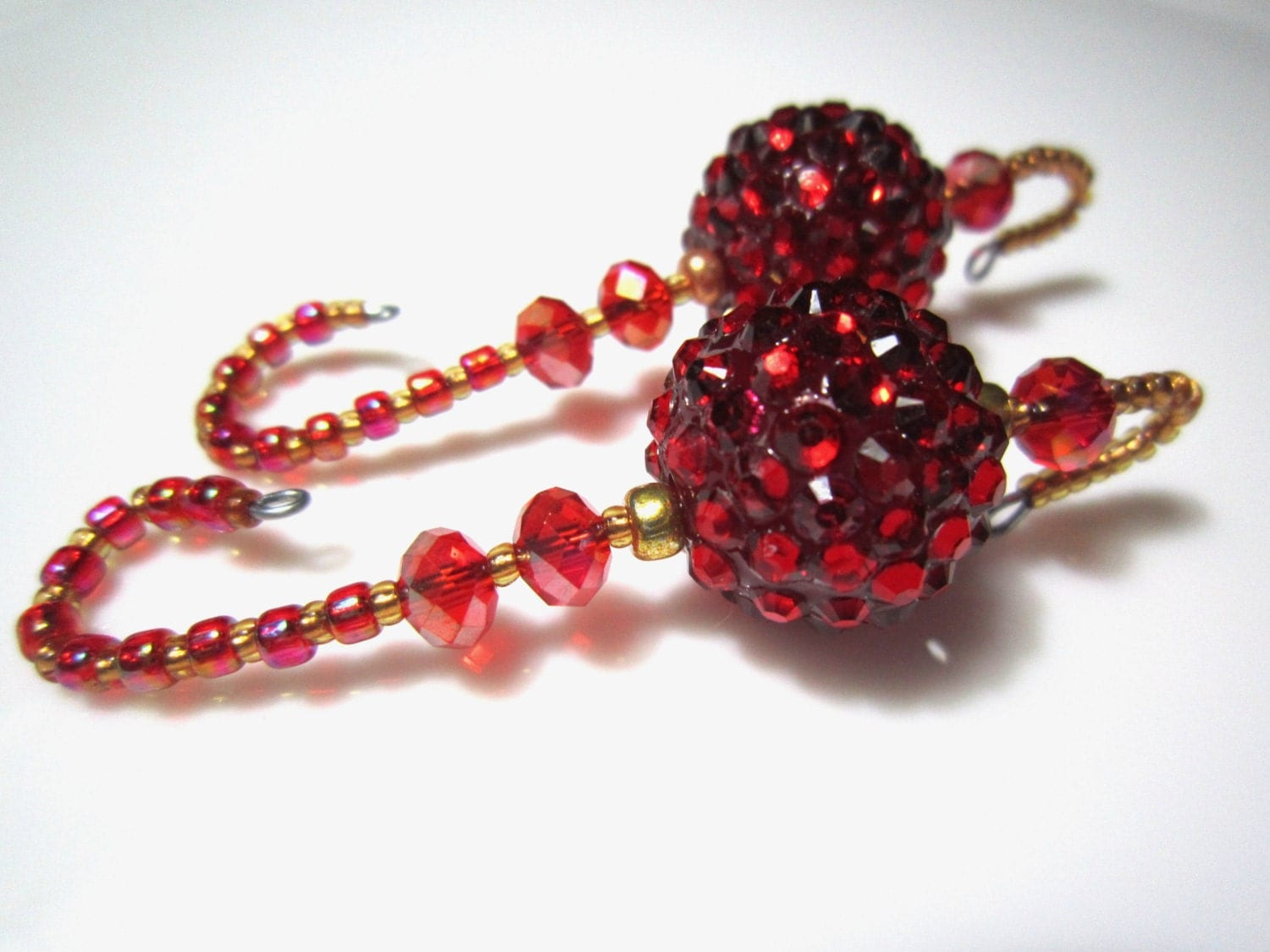 Red Jewel Beaded Christmas Ornament Hangers 2 Showstopper
