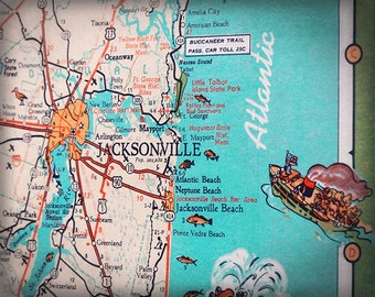 Jacksonville Beach Mayport Atlantic beach retro beach map print funky vintage turquoise photo of Florida East Coast