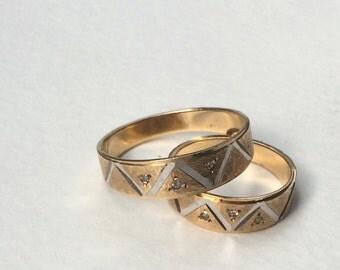 Vintage Gold Wedding Ring Set