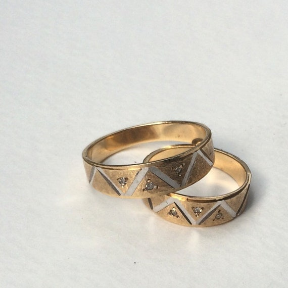 vintage gold wedding ring set by susansestatejewelry on etsy