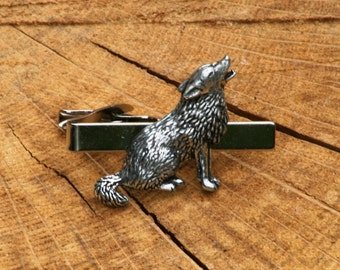 Wolf Tie Clip Tack Slide UK Pewter Hunting Gift