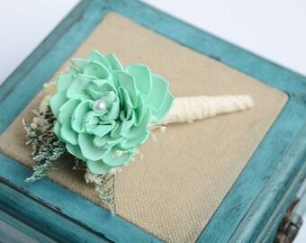 Sola Flower Boutonniere, Mint boutonniere, Wedding boutonniere, Keepsake boutonniere