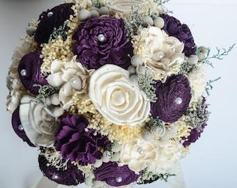 Purple Bridal Bouquet, Sola Flower Bouquet, Keepsake Bouquet, Vintage Bouquet.