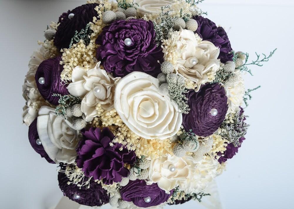 Purple Bridal Bouquet Sola Flower Bouquet Keepsake Bouquet
