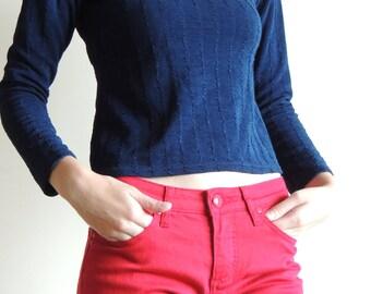 Vintage NAKED EYES Dark blue top with long sleeves, made in UK