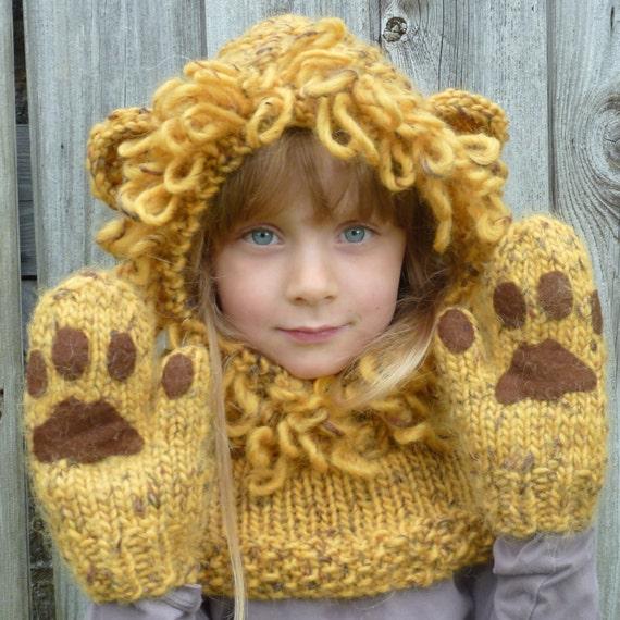 Knitting Pattern UK. Lion Hat Hood & Mitten Paws. Sizes