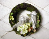 Spring Wreath with birds, Angel Vine Moss Wreath, green garland on Easter, handmade wreath, wreath with artificial flowers