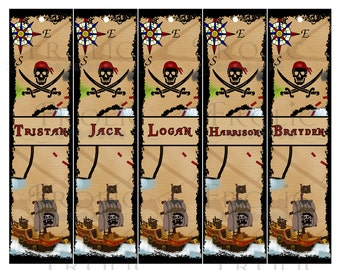Pirate Bookmarks Customized for your pirate party favors