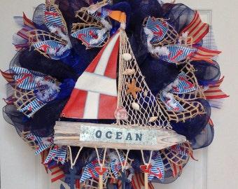 Nautical Sailing Wreath Handmade Deco Mesh