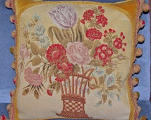Antique French Pillow - 19th Century Aubusson Tapestry Cushion Pillow - Floral