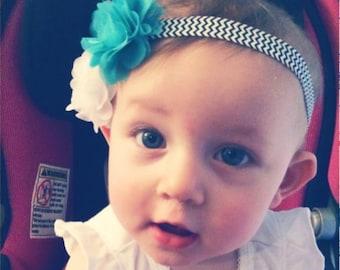 White and Teal Pearl Flower Infant Headband on Black/White Chevron Elastic