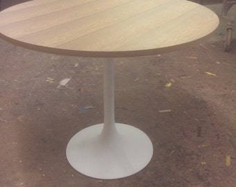 """36"""" Round Sinker Cypress table  with 1960's  trumpet base"""