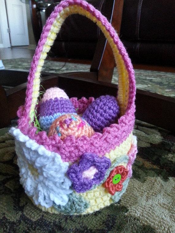 Crochet Egg Basket : ... to Crochet Easter Basket including 3 Crochet Easter Eggs on Etsy