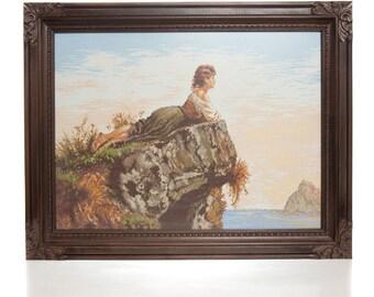 Handmade Gobelin - Girl On the Rock
