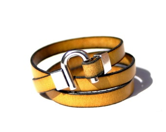 Leather Bracelet Wrap Yellow