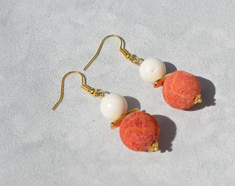 Red and white coral earrings