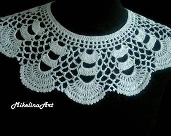 Handmade Crochet Collar, Neck Accessory, White, 100% Cotton