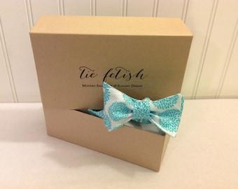 Boys aqua blue and white mums bow tie