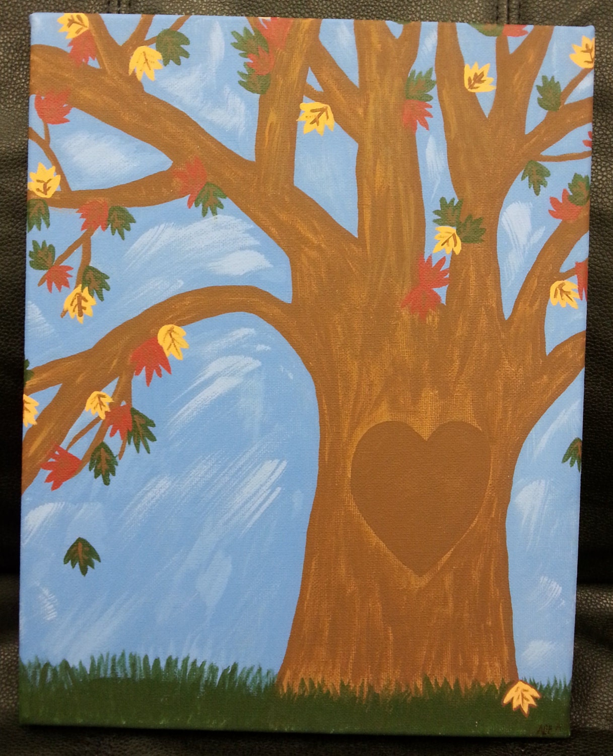 Wedding Gift Canvas Painting : Personalized Fall Wedding Gift Canvas Art Painting by blisshappens