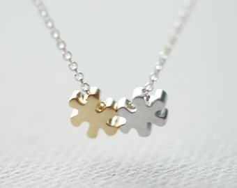 Puzzle Piece Necklace, Autism Necklace, Autism Puzzle Piece Charm, Tiny Puzzle Necklace, Autism Awareness, Autism Jewelry by HeirloomEnvy